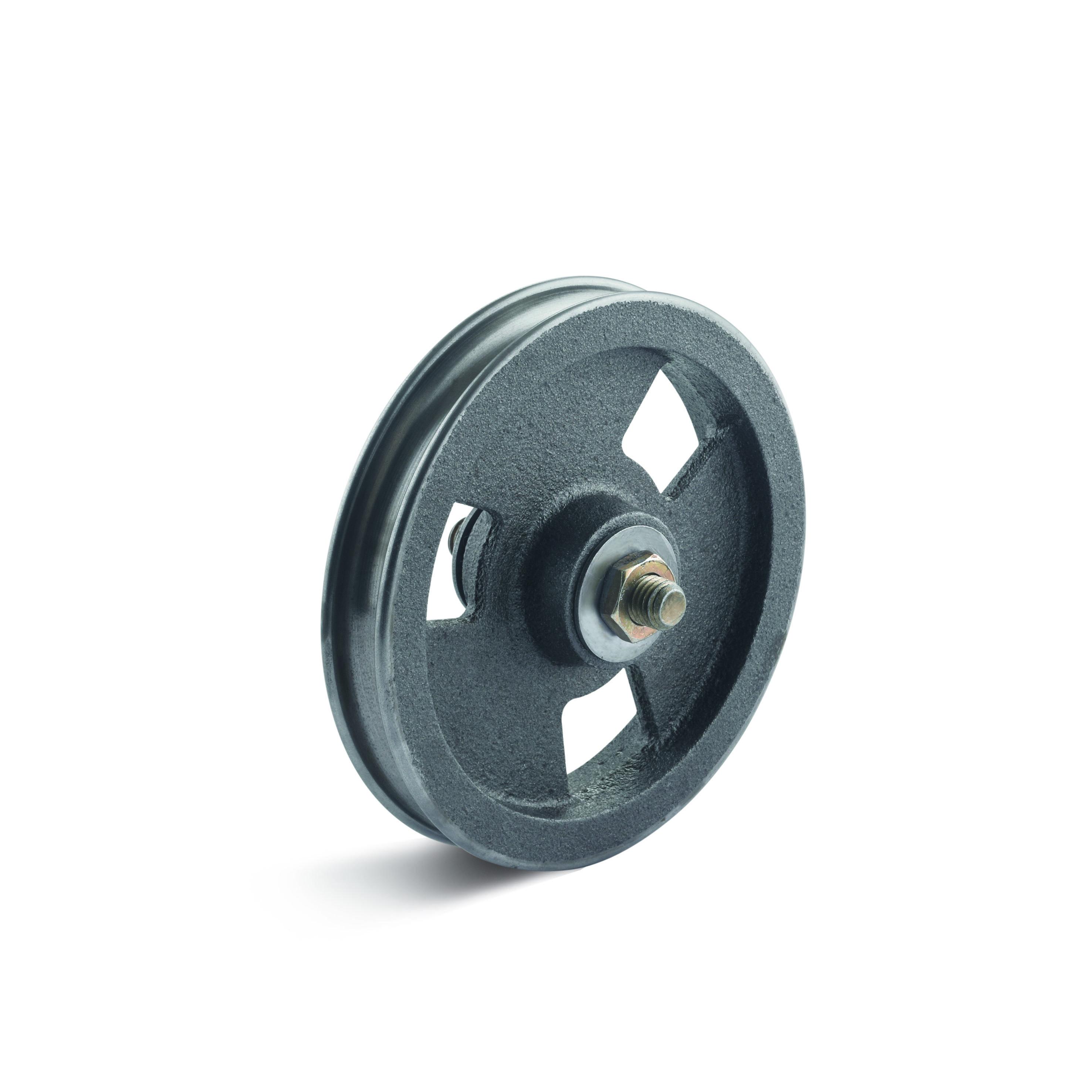 Billed af Portruller (wireruller), støbegods med rulle- og glideleje, halvrund, (525-CF-RAD-serie)