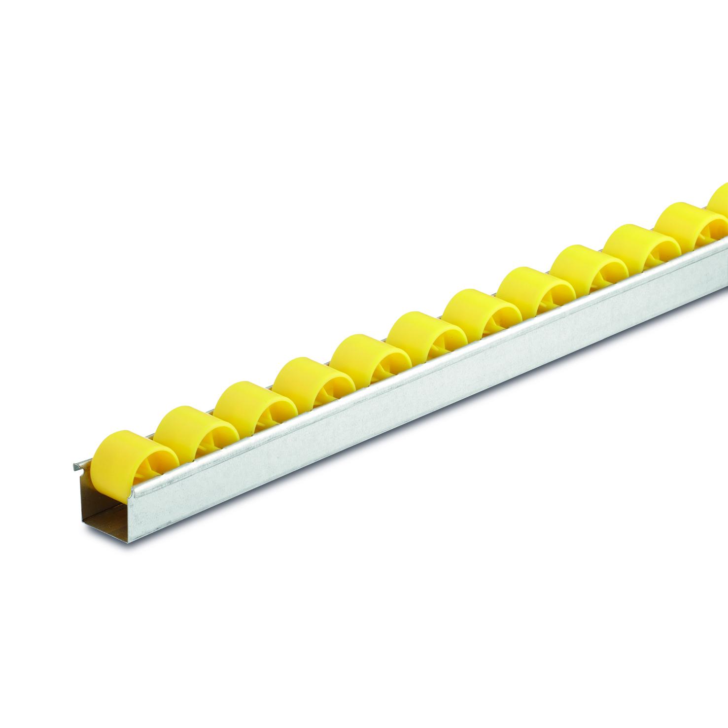 Billed af U-rulleskinner, op til 6 kg pr. rulle, profil 0,8 mm (801-serie)
