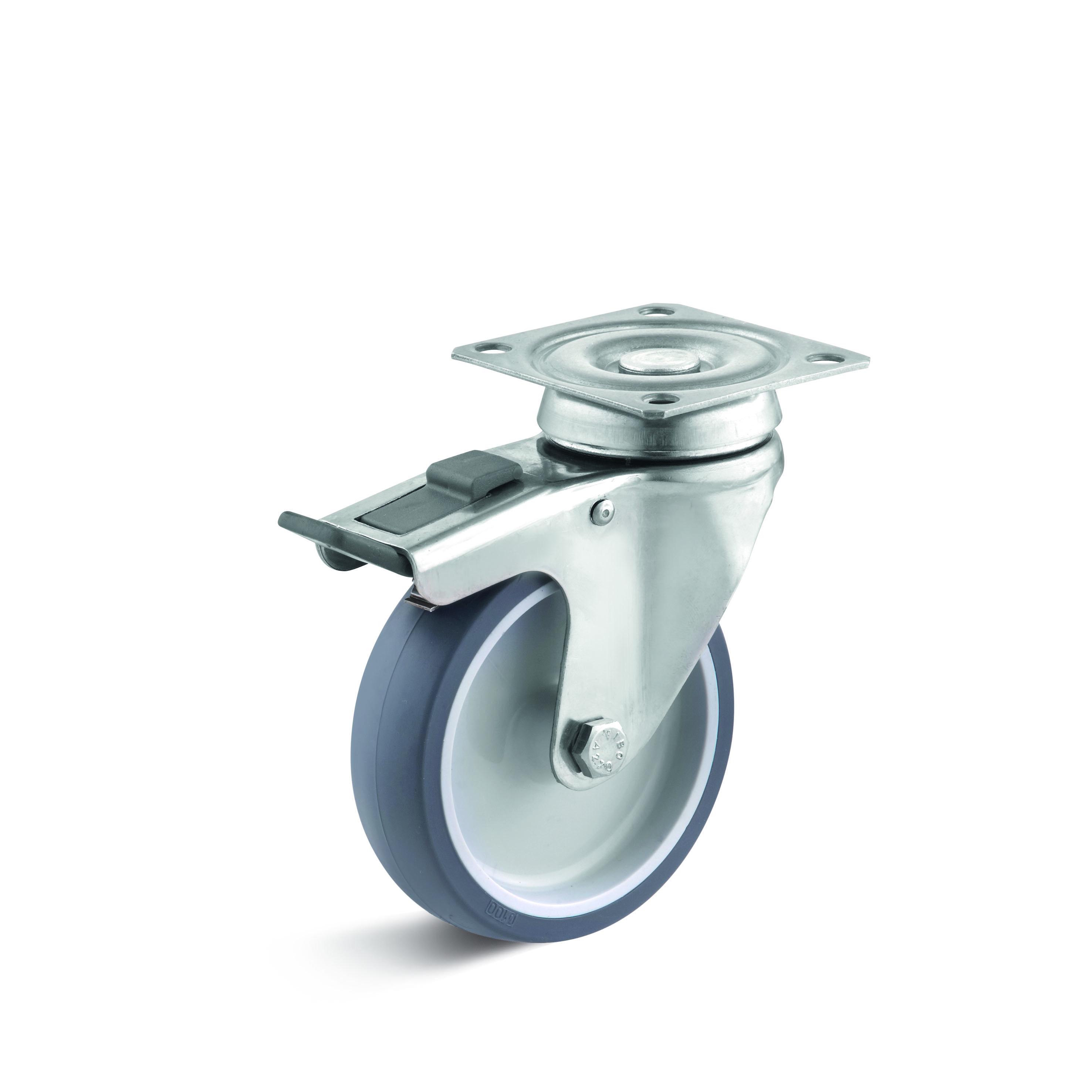 Billed af Rustfrie apparathjul, grå thermoplasthjul, rustfri gaffel, (9050-serie)