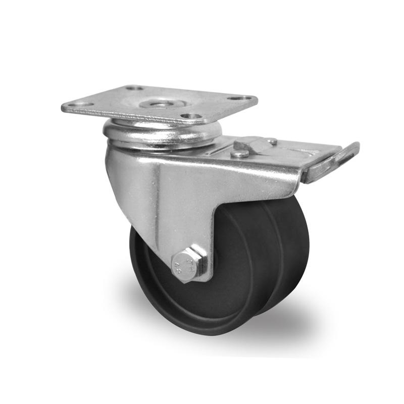 Billed af Apparathjul, dobbelt, sort polyamidhjul, (1300-serie)