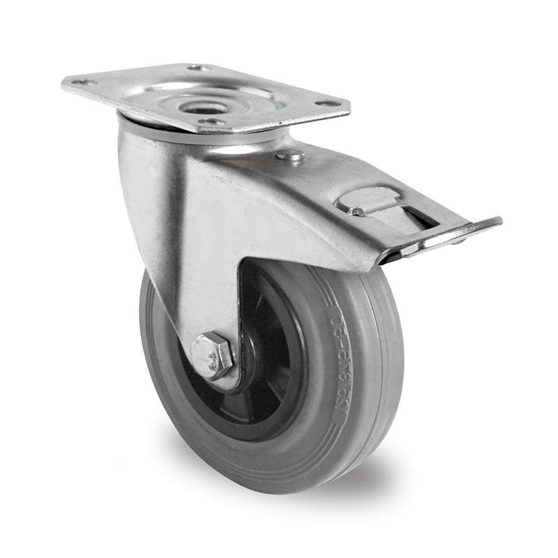 Billed af Industrihjul, grå gummihjul, (3300-serie)