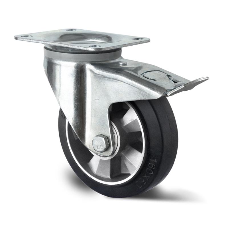 Billed af Industrihjul, sort gummihjul, kraftig gaffel, (3600-serie)