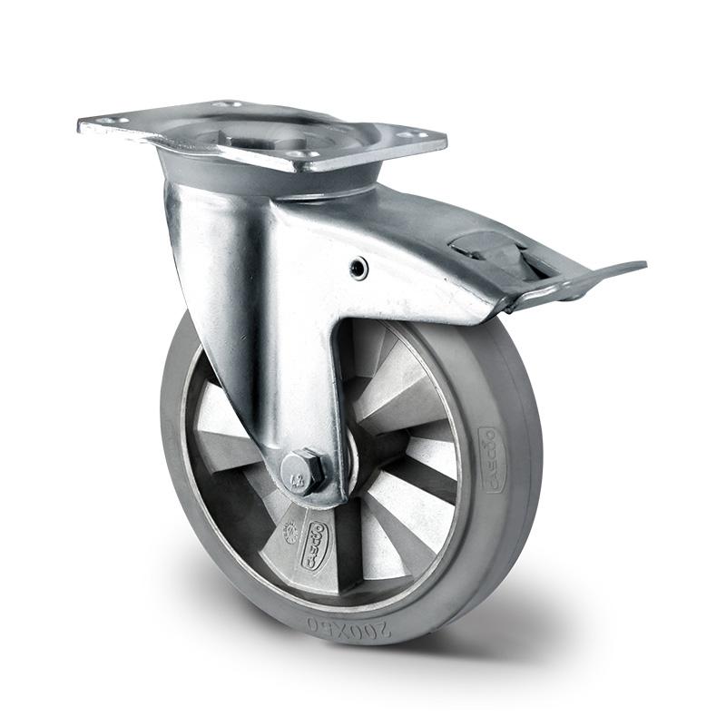 Billed af Industrihjul, grå gummihjul, kraftig gaffel, (3700-serie)