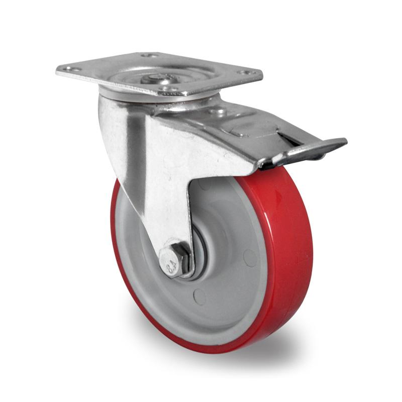 Billed af Industrihjul, rød polyurethanhjul, (4200-serie)