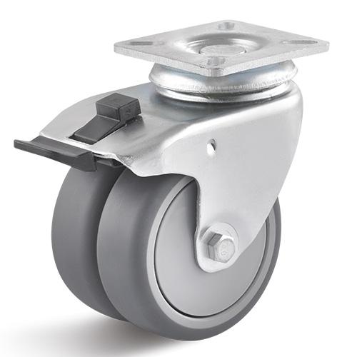 Billed af Dobbelt apparathjul med kugleleje 75 mm (0010861)