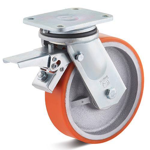 Billed af Sværlasthjul, orange polyurethanhjul, svejst gaffel, støbegods fælge, (7300-serie)