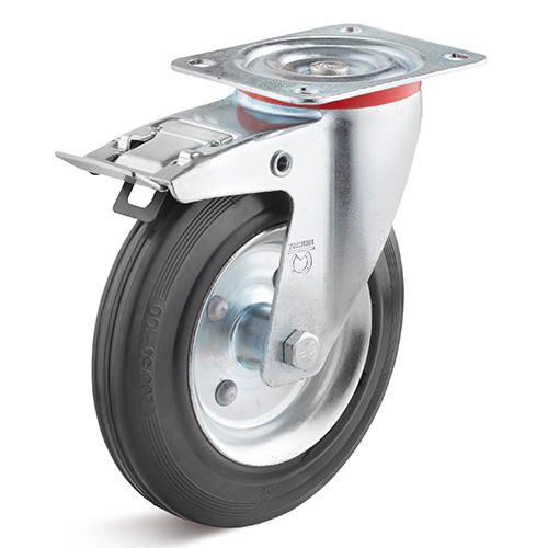 Billed af Standard sort industrigummihjul med stålfælge 160 mm (0029269)