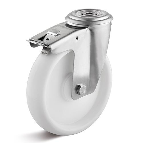 Billed af Rustfrie industrihjul, hvid polyamidhjul, almindelig gaffel, rustfri, (9200-serie)