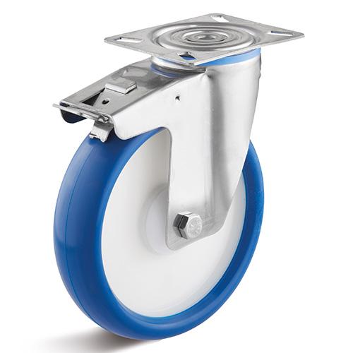 Billed af Rustfrie industrihjul, blå polyurethanhjul, almindelig gaffel, rustfri, (9400-serie)