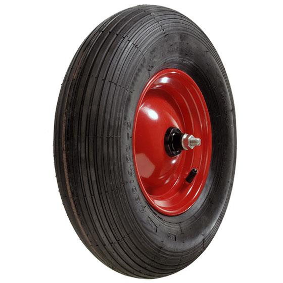 Billed af Luftgummihjul, rødlakeret stålfælge - trillebøre, (16-serie)