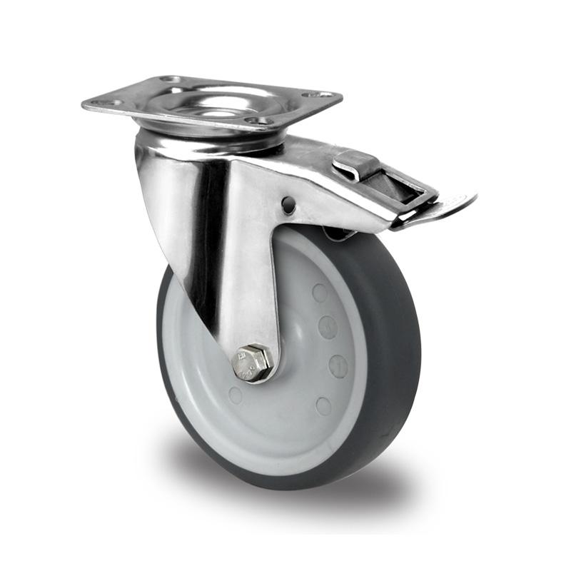 Billed af Rustfrie apparathjul, kraftig grå thermoplasthjul, almindelig gaffel, rustfri, (9100-serie)