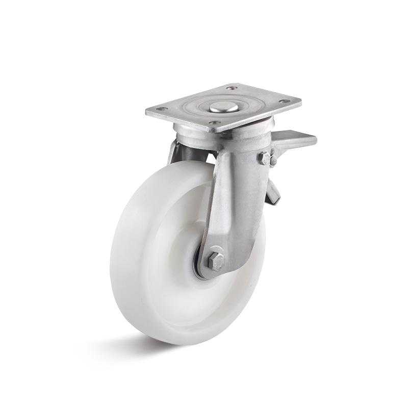 Billed af Rustfrie industrihjul, hvid polyamidhjul, svær gaffel, rustfri, (9600-serie)