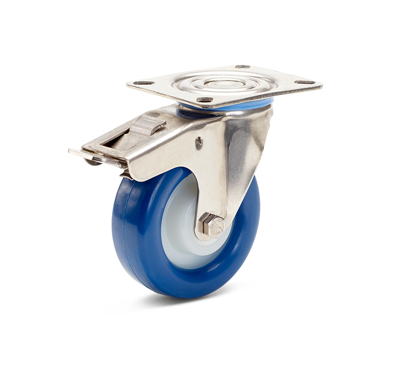 Billed af Rustfrie industrihjul, blå polyurethanhjul, almindelig gaffel, rustfri, (9450-serie)