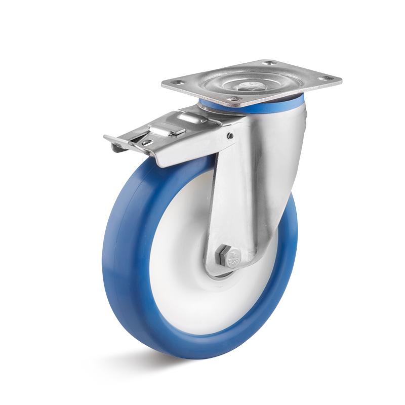 Billed af Rustfrie industrihjul, blå polyurethanhjul, svær gaffel, rustfri, (9500-serie)
