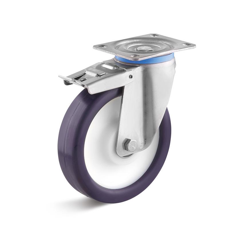 Billed af Rustfrie industrihjul, lilla polyurethanhjul, svær, rustfri, (9550-serie)