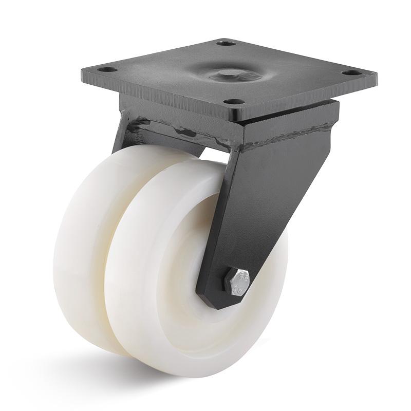 Billed af Sværlasthjul, dobbelt hvid polyamidhjul, svejst gaffel, (8300-serie)