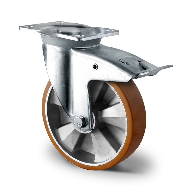 Billed af Sværlasthjul, brun polyurethanhjul, alu fælge, (7000-serie)