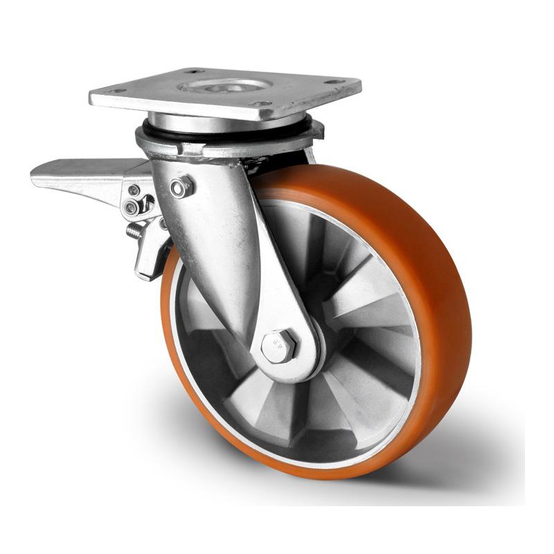 Billed af Sværlasthjul, brun polyurethanhjul, svejst gaffel, alu fælge, (7100-serie)