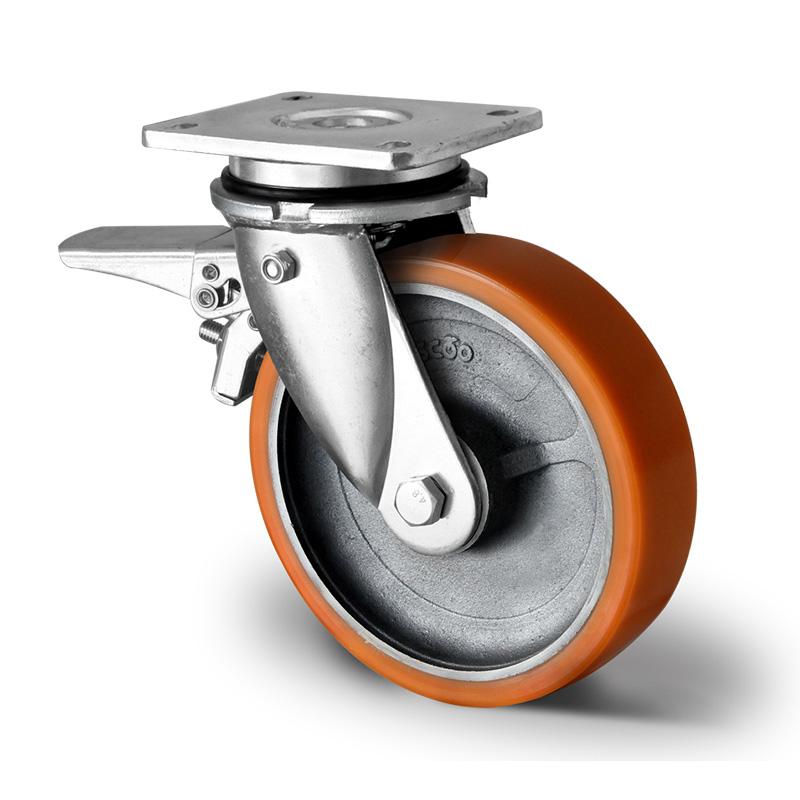 Billed af Sværlasthjul, brun polyurethanhjul, svejst gaffel, støbegods fælge, (7200-serie)
