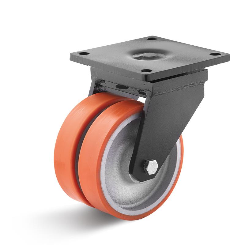 Billed af Sværlasthjul, dobbelt orange polyurethanhjul, svejst gaffel, (8200-serie)