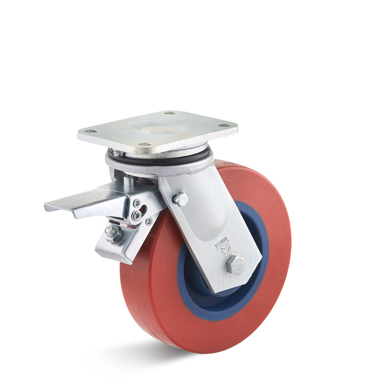 Billed af Sværlasthjul, rød polyurethanhjul, svejst gaffel, støbegods fælge, (7400-serie)
