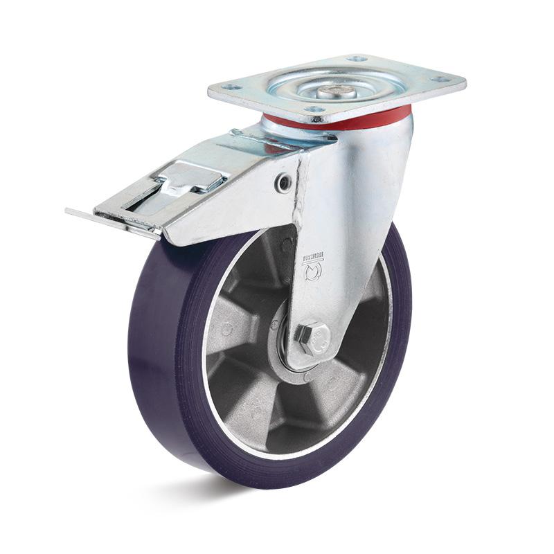 Billed af Sværlasthjul, blå polyurethanhjul, svejst gaffel, alu fælge, (7500-serie)