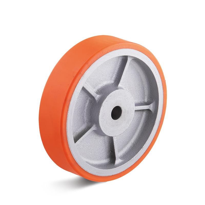 Billed af Sværlasthjul, orange polyurethanhjul, alu fælge, (7600-serie)