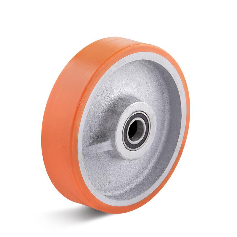 Billed af Sværlasthjul, orange polyurethanhjul, alu fælge, (7700-serie)